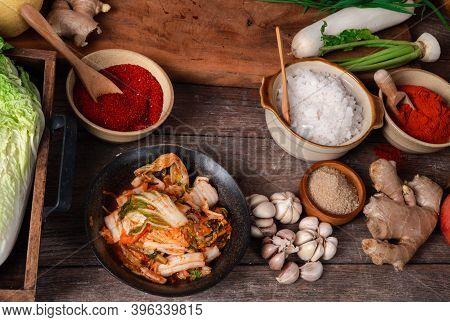 Fresh Ingredients And Vegetables Placed In The Table For Making Kimchi Which Contains Ingredients Su