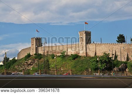 Skopje, Macedonia - 10 May 2018: The Ancient Castle In The Center Of Skopje, Macedonia