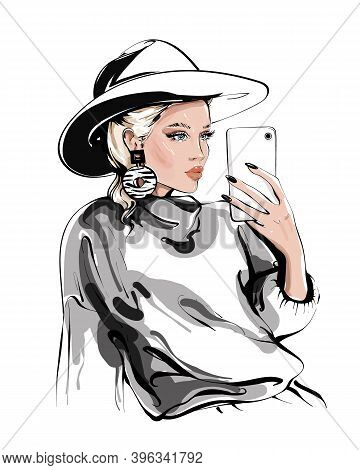 Hand Drawn Beautiful Young Woman In Hat Making Selfie. Girl Holding Phone And Making Photo. Fashion