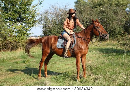 girl rider on a walk with your horse in a field poster