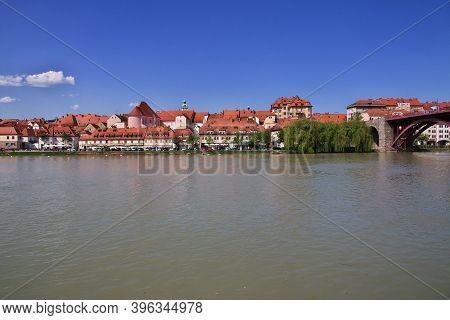 Maribor, Slovenia - 29 Apr 2018: The View On Lent, The Oldest Center Of Maribor, Slovenia