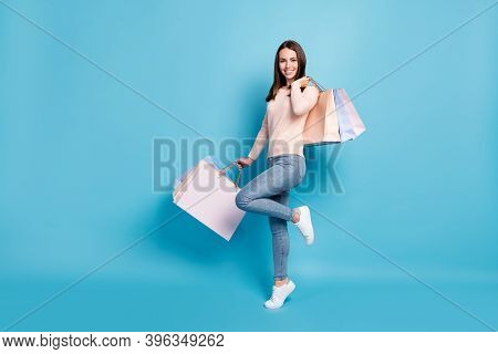 Full Length Body Size View Of Her She Nice Attractive Cheerful Brown-haired Girl Jumping Carrying Ne