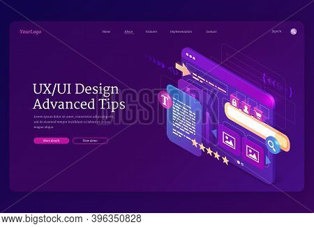 Ui Ux Design Advanced Tips Isometric Landing Page. User Experience, Adaptive Interface Mobile Phone