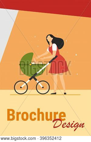 New Mom Walking With Stroller. Mother Reaching Hands To Baby In Pram Flat Vector Illustration. Love,
