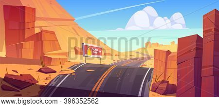 Road And Billboard In Desert With Red Rocks. Vector Cartoon Landscape Of Hot Sand Desert With Highwa