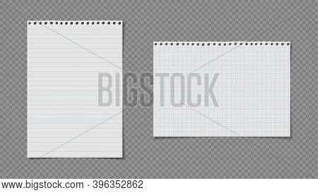 White Lined, Math Note, Notebook Paper Are On Dark Grey Background For Text, Advertising Or Design.