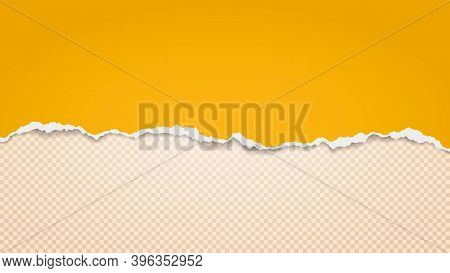 Piece Of Torn Yellow, Gold Paper Is On Beige Transparent Background For Text, Advertising Or Design.