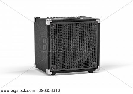 Black Guitar Amplifier Isolated On White Background - 3d Render