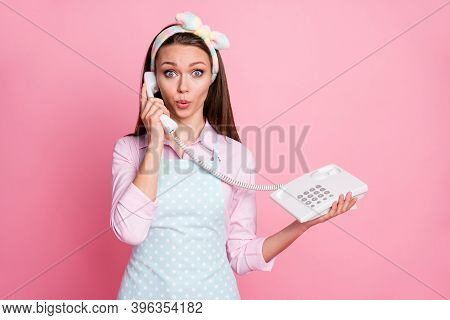 Portrait Of Her She Nice Attractive Cute Girlish Amazed Funny Funky Brown-haired Housemaid Calling C