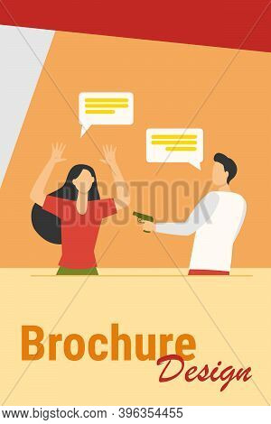 Angry Guy Threatening Scary Woman With Gun. Speech Bubble, Weapon, Attack Flat Vector Illustration.