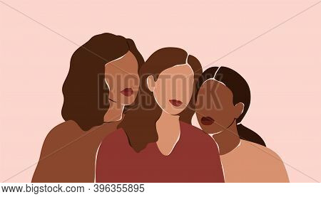 Three Beautiful Women With Different Skin Colors Stand Together. Abstract Minimal Portrait Of Girls