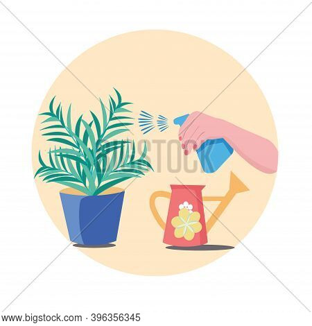 Hand Sprays Plant In Pot. Water Pulverizer Symbol With Flower. Hand Holding Spray Bottle For Waterin