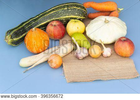 Fresh Vegetables Like Pumpkin, Daikon, Squash, Onion, Carrot Garlic Pear Apple