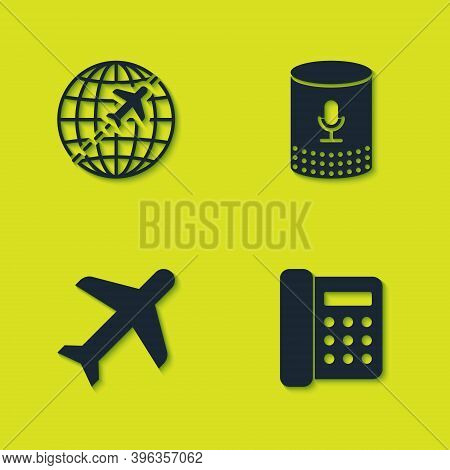 Set Globe With Flying Plane, Telephone, Plane And Voice Assistant Icon. Vector