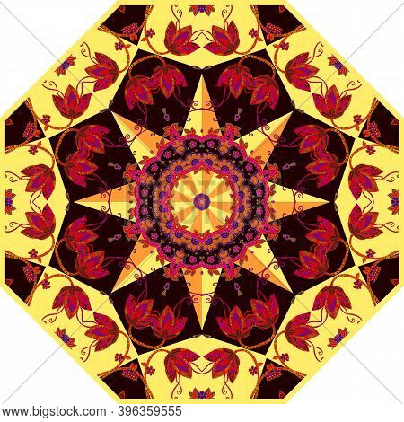Bright Umbrella Template With Beautiful Floral Ornament. Design For Doily, Rug, Carpet.
