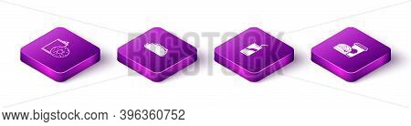 Set Isometric Aluminum Can Soda And Donut, Taco With Tortilla, Soda Drinking Straw And Coffee Burger