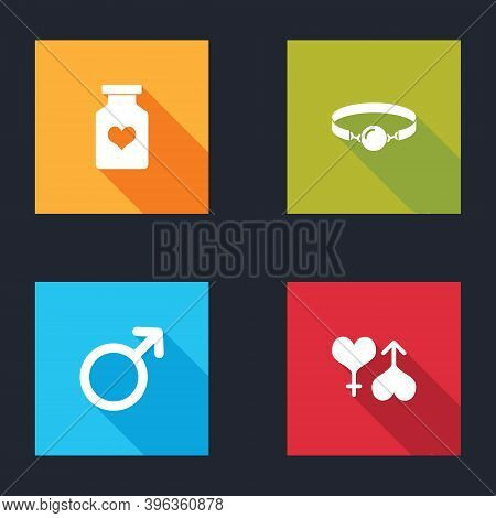 Set Bottle With Pills For Potency, Silicone Ball Gag, Male Gender Symbol And And Female Heart Icon.