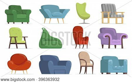 Comfortable Armchairs Flat Set For Web Design. Cartoon Classic And Modern Chairs, Soft Poufs Isolate