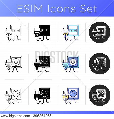 Plugs Icons Set. Wall Socket For Household Appliance. Electrical Power Outlet. Unplug Technology Fro