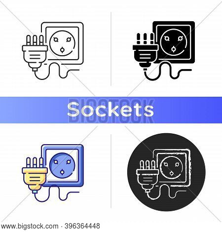 Industrial Wall Socket Icon. Receptacle For Home Appliance Electrical Connection. Power Outlet To Pl