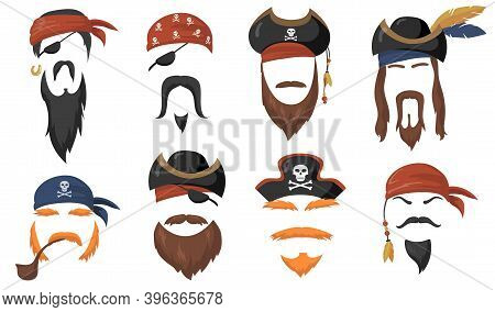 Pirate Face Masks For Carnival Flat Item Set. Cartoon Sea Pirates Hats, Journey Bandana, Beard And S