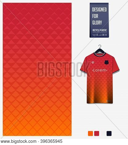 Fabric Pattern Design. Geometric Pattern On Orange Gradient Background For Soccer Jersey, Football K