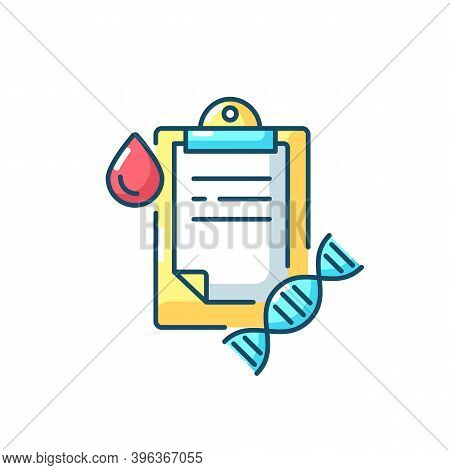 Dna Test Rgb Color Icon. Genetic Determination. Clipboard With Medical Research Result. Blood Examin