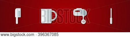 Set Meat Chopper, Coffee Cup, Electric Mixer And Knife Sharpener Icon. Vector
