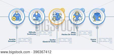 Pharyngitis Symptoms Vector Infographic Template. Swallowing, Hoarse Voice Presentation Design Eleme