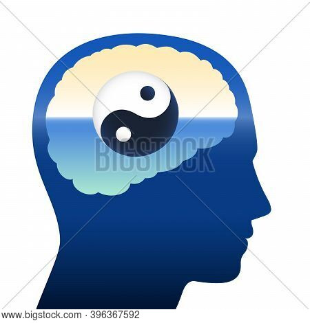 Yin Yang In Human Brain, Symbol For Balance, Harmony, Relaxation, Meditation, Tranquility, Spiritual