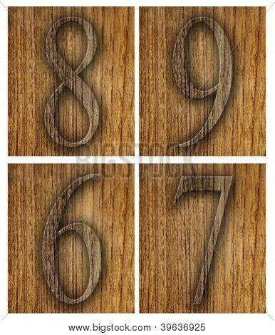 Teak wood 6-9 blocks with letters