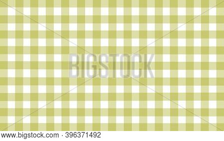 Green Olive White Checkered Background. Space For Graphic Design. Checkered Texture. Classic Checker