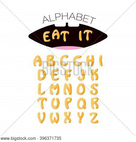 Cookies Alphabet. Set With British Letters In Cute Cartoon Style. Gingerbread Food In Mouth. Isolate