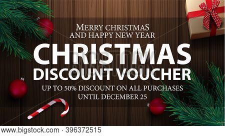 Christmas Voucher, Up To 50 Off On All Purchases. Christmas Discount Voucher With Present, Christmas