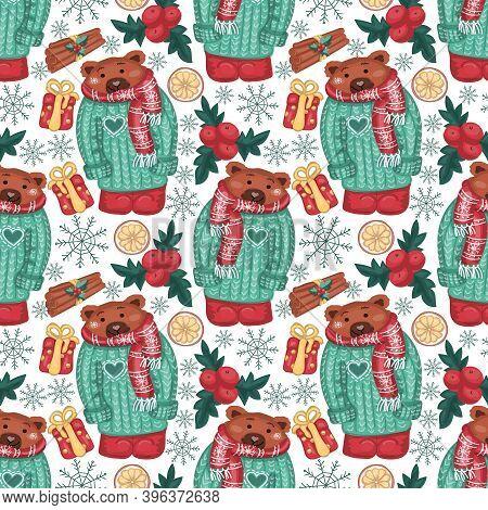 Merry Christmas Pattern Background. Scandinavian Style Winter Pattern With Teddy Bear. Pagan New Yea