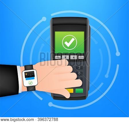Contactless Payment Methods Mobile Smart Watch And Wireless Pos Terminal Realistic Style. Vector Sto