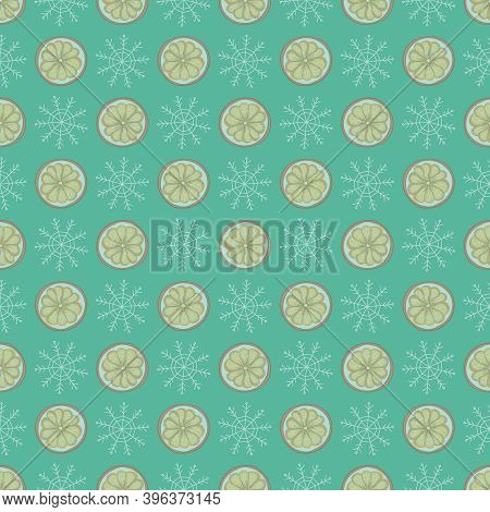 Merry Christmas Pattern Background. Scandinavian Style Winter Pattern With Citrus. Pagan New Year, Y
