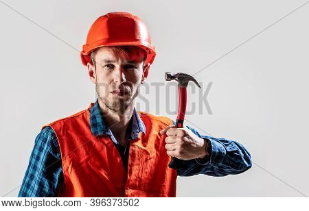 Man Builder Isolated On White Background. Hammer Hammering. Builder In Helmet, Hammer, Handyman, Bui