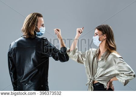 Coronavirus Quarantine. Elbows Bump. Two People Bump Elbows. Coronavirus Epidemic. Friends In Safety