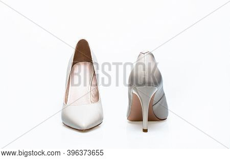 White High Heel Women Shoes On White Background. White Shoe For Women. Beauty And Fashion Concept. F