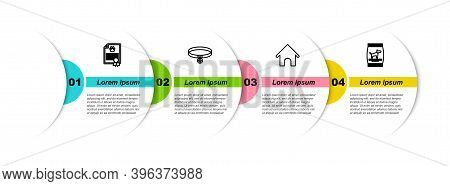 Set Line Certificate For Dog Or Cat, Collar With Name Tag, Dog House And Bag Of Food. Business Infog