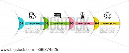 Set Line Bio Fuel With Fueling Nozzle, Address Book, Light Bulb Leaf And Sad Smile. Business Infogra