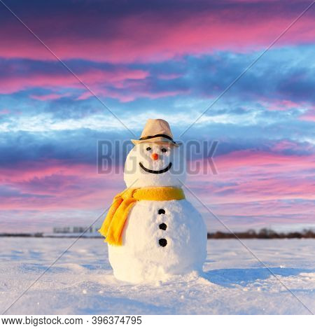 Funny snowman in stylish hat and yellow scalf on snowy field. Merry Christmass and happy New Year!