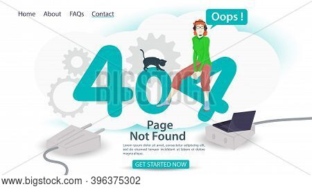 Oops, 404 Error, Page Not Found, Banner Internet Connection Problems, Girl Sitting In Numbers, For W