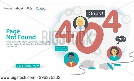 Oops, 404 Error, Page Not Found, Banner Of Internet Connection Problems, Icons Of People Among Numbe