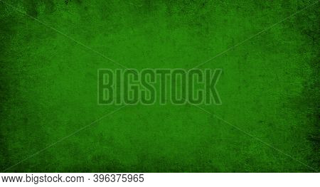 Dark Green Grunge Background, Old Design Paper Texture With Copy Space And Space For Text