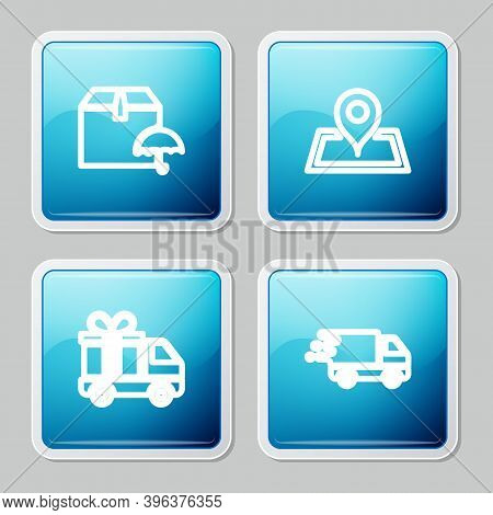 Set Line Delivery Package With Umbrella, Placeholder On Map, Truck Gift And In Movement Icon. Vector
