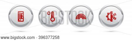 Set Line Meteorology Thermometer, , Rainbow And Sun And Snowflake. Silver Circle Button. Vector