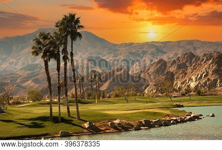 Golf Course At Sunset  In Palm Springs, California