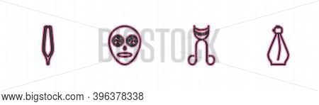 Set Line Eyebrow Tweezers, Eyelash Curler, Facial Cosmetic Mask And Perfume Icon. Vector
